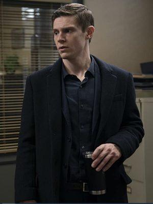 TV Series Mare of Easttown 2021 Evan Peters Black Wool Trench Coat