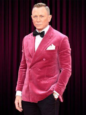 James Bond No Time to Die Premiere Event Daniel Craig Pink Tuxedo Jacket