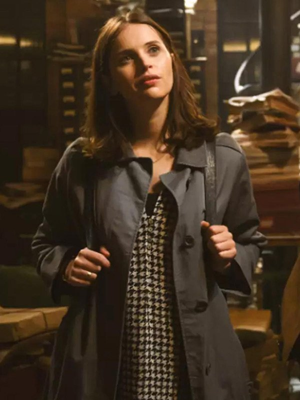 Felicity Jones The Last Letter from Your Lover 2021 Gray Cotton Coat