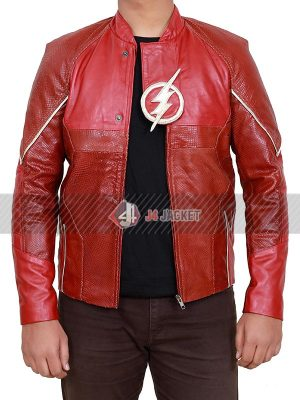 Grant Gustin The Flash Barry Allen Red Leather Jacket