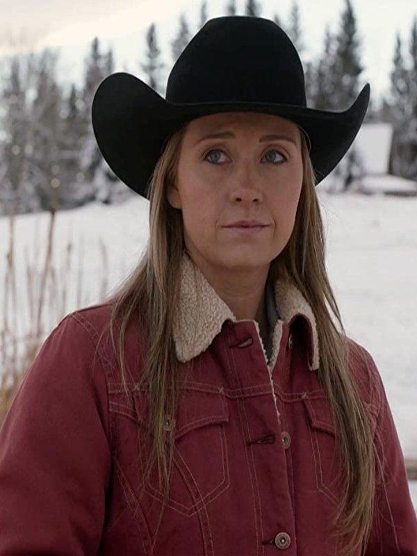 Amy Fleming Heartland Season 14 Red Cotton Shearling Jacket