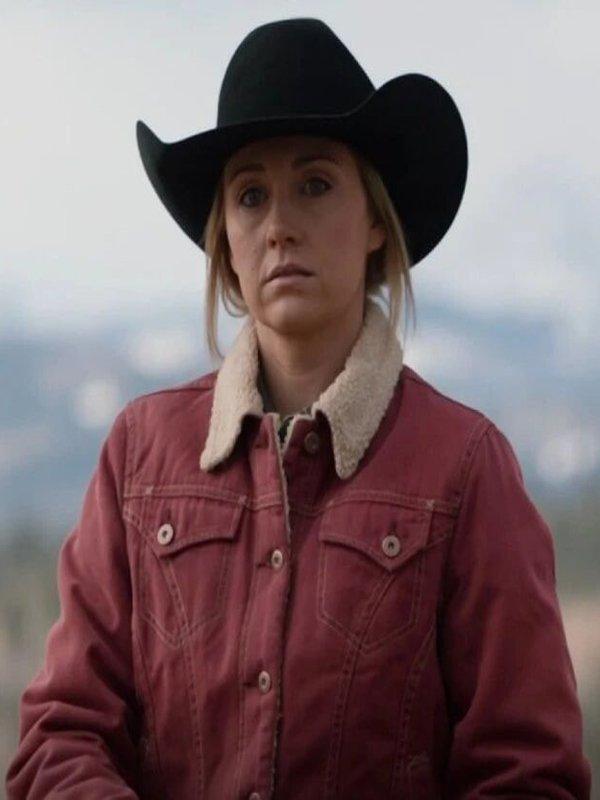 Heartland-Season-14-Amy-Fleming-Red-Shearling-Jacket