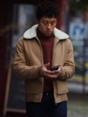 Dating and New York Jaboukie Young-White Brown Shearling Leather Jacket