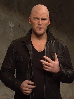 Jason Statham Chris Pratt Ad Black Leather Jacket