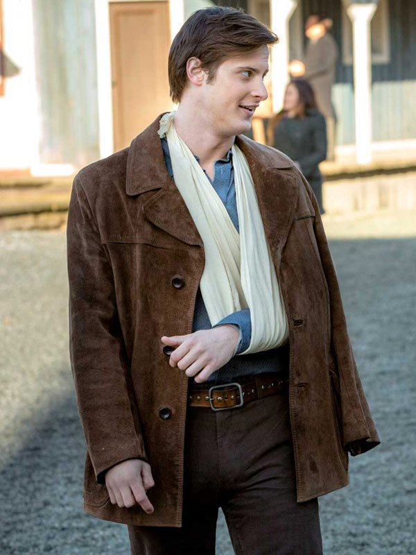 Jesse Flynn TV Series When Calls the Heart Aren Buchholz Brown Suede Leather Jacket