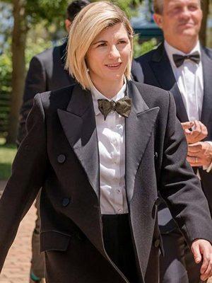 TV Series Doctor Who Season 12 Jodie Whittaker Black Wool Trench Coat