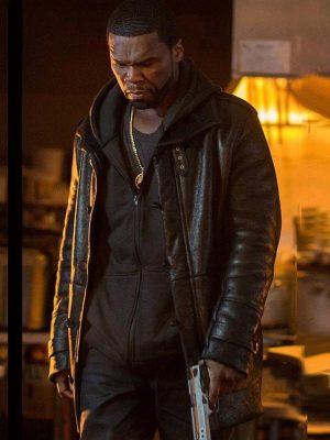 Kana TV Series Power Season 05 50 Cent Black Shearling Leather Jacket
