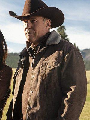 John Dutton Yellowstone Brown Kevin Costner Corduroy Jacket