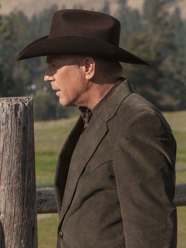 John Dutton Yellowstone Kevin Costner Corduroy Blazer Coat