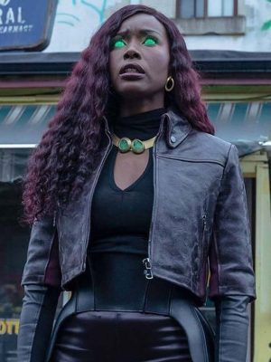 Anna Diop TV Series Titans Season 03 Cropped Leather Jacket