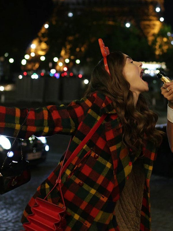 Lily Collins Emily in Paris Emily Cooper Plaid Wool Coat