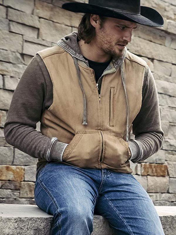 Luke Grimes TV Series Yellowstone Kayce Dutton Brown Cotton Vest