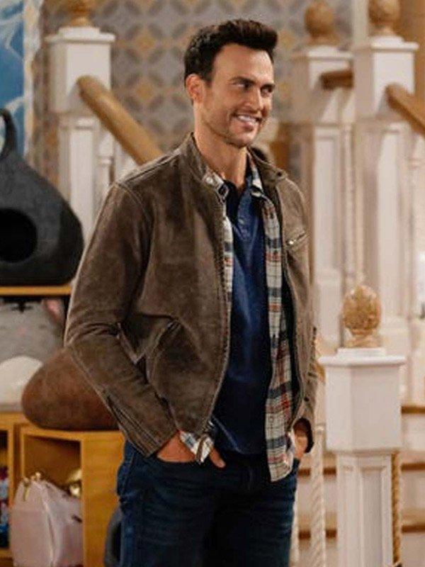 Cheyenne Jackson Season 01 Max Call Me Kat Brown Leather Jacket