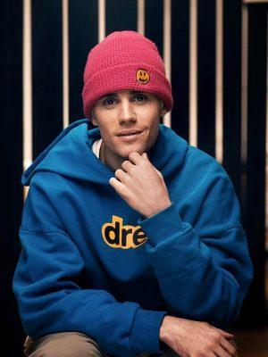 Justin Bieber Men Celebrity Blue Hoodie