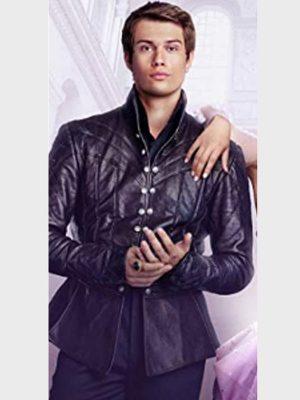 Nicholas Galitzine Cinderella Prince Robert Black Leather Jacket