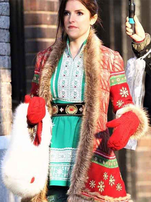 Noelle 2019 Anna Kendrick Red Christmas Shearling Wool Coat