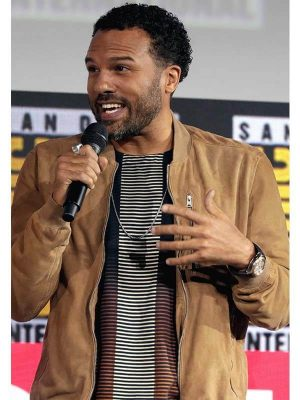 Event O-T Fagbenle Black Widow 2021 Brown Leather Jacket