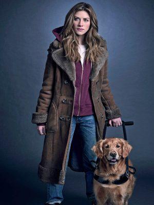 Murphy Mason In the Dark Perry Mattfeld Brown Leather Trench Coat