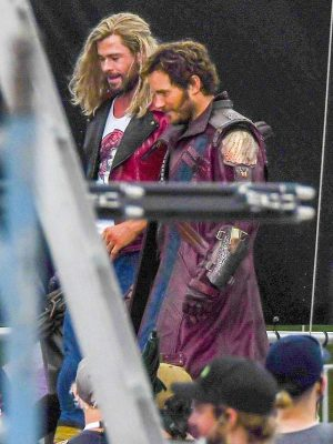 Peter Quil Thor love and Thunder 2022 Chris Pratt Maroon Leather Trench Coat