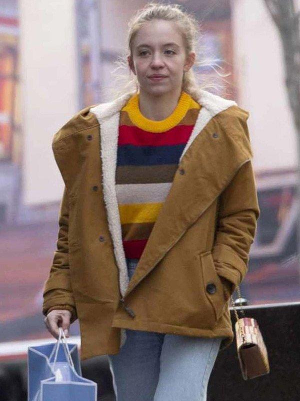 Sydney Sweeney The Voyeurs 2021 Brown Shearling Cotton Jacket