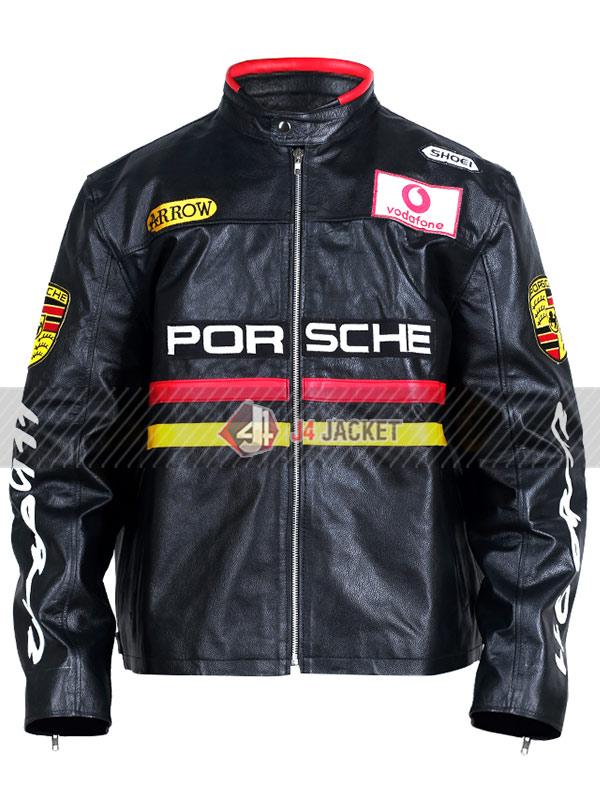 Porsche Racing Motorcycle Black Leather Jacket