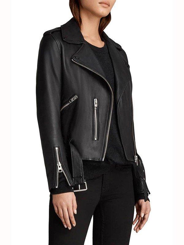 Caitlin Lewis Pretty Little Liars the Perfectionists Sydney Park Biker Black Leather Jacket