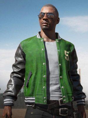 PUBG 5M Green Leather Varsity Jacket