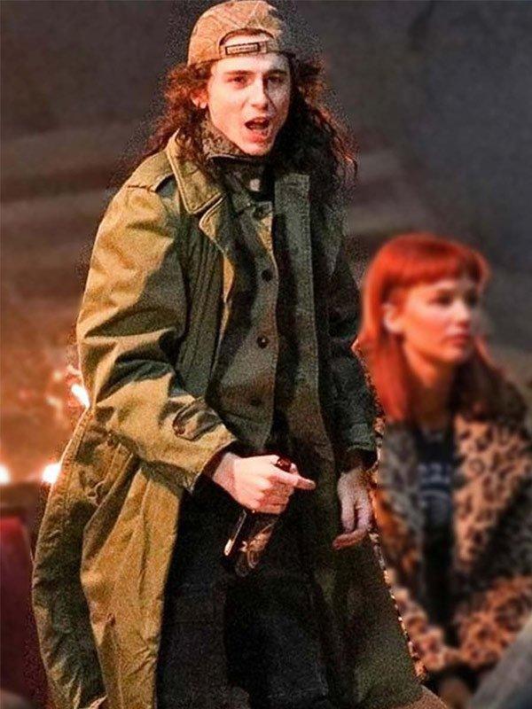 Timothée Chalamet Don't Look Up 2021 Quentin Cotton Trench Coat