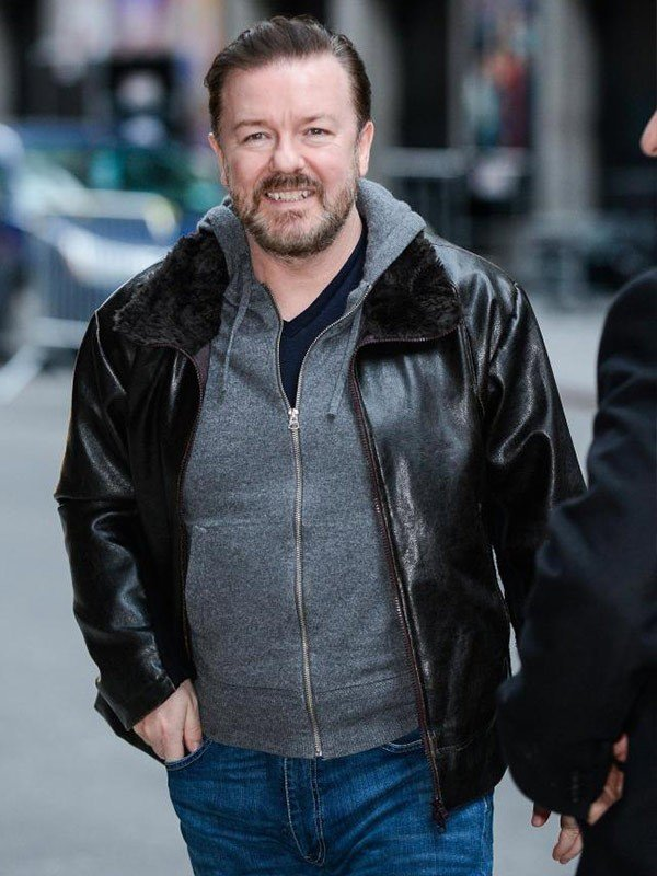Ricky Gervais After Life Tony Johnson Shearling Black Leather Jacket