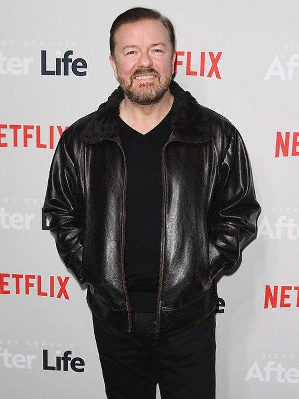 Ricky Gervais After Life Tony Johnson Black Leather Jacket
