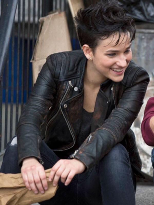 Sin TV Series Arrow Bex Taylor-Klaus Distressed Black Leather Jacket
