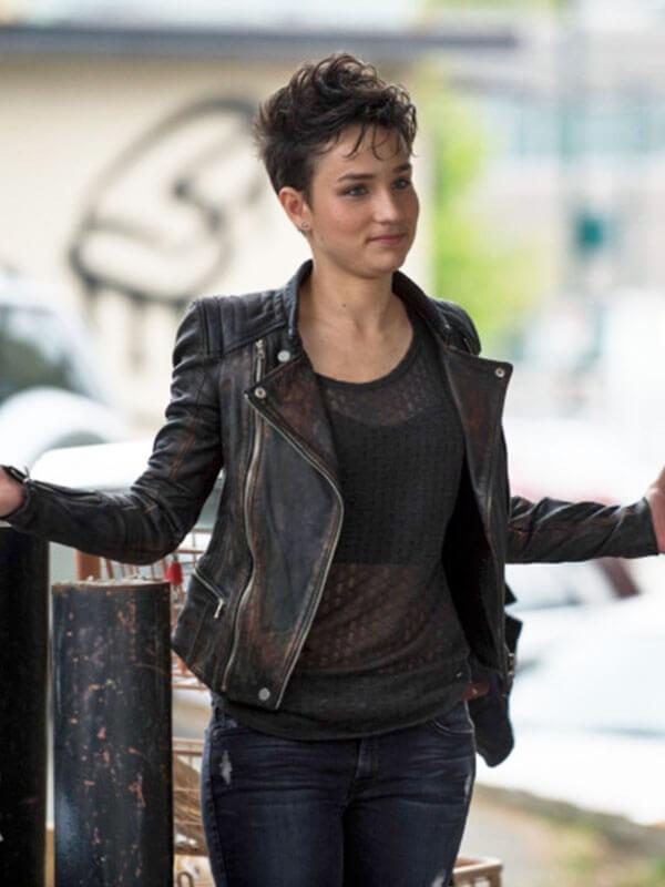 Sin TV Series Arrow Bex Taylor-Klaus Distressed Leather Jacket