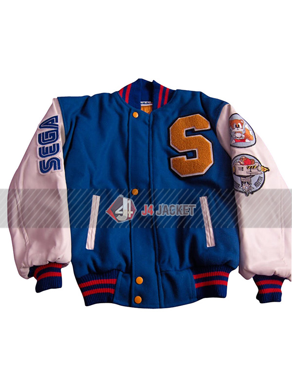Sonic the Hedgehog Blue and White Letterman Jacket