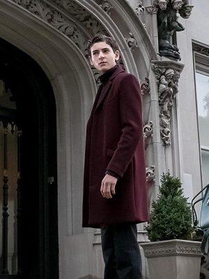 David Mazouz TV Series Gotham Maroon Wool Coat
