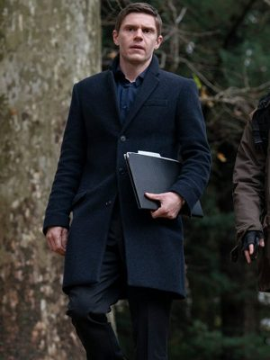Evan Peters Mare of Easttown Colin Zabel Black Trench Coat