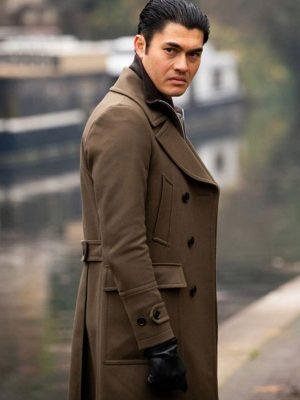 Henry Golding The Gentleman Dry Eye Brown Leather Trench Coat
