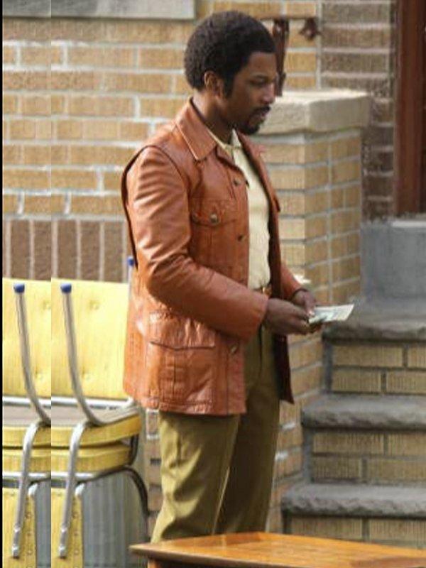 Leslie Odom Jr. The Many Saints of Newark Harold Mcbrayer Brown Leather Jacket