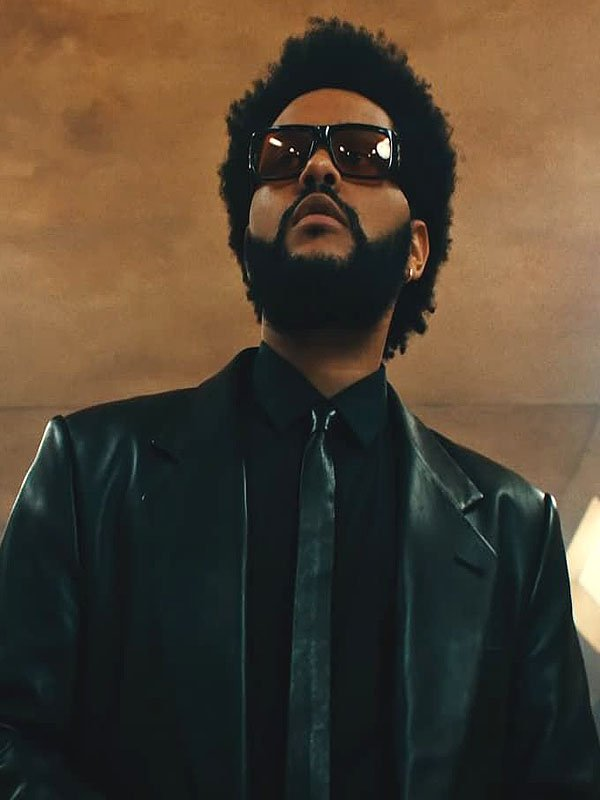 The Weeknd 2021 Song Take My Breath Leather Black Trench Coat