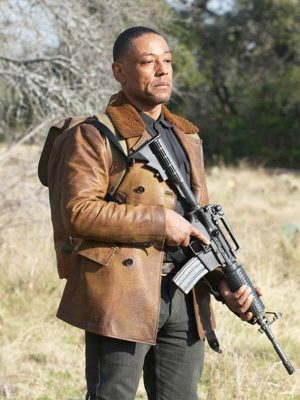 Tom Neville TV Series Revolution Giancarlo Esposito Shearling Brown Leather Jacket