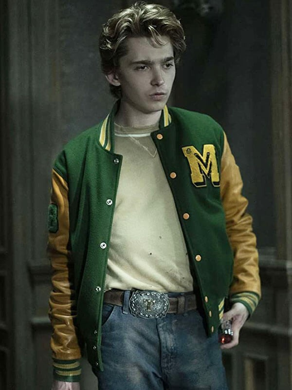 Austin Abrams Scary Stories to Tell in The Dark Green Varsity Jacket