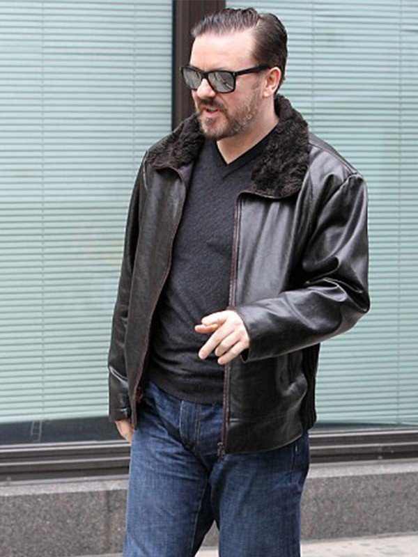 Ricky Gervais After Life Tony Johnson Shearling Black Jacket
