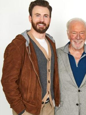 Toronto International Film Festival Chris Evans Brown Hooded Suede Leather Jacket