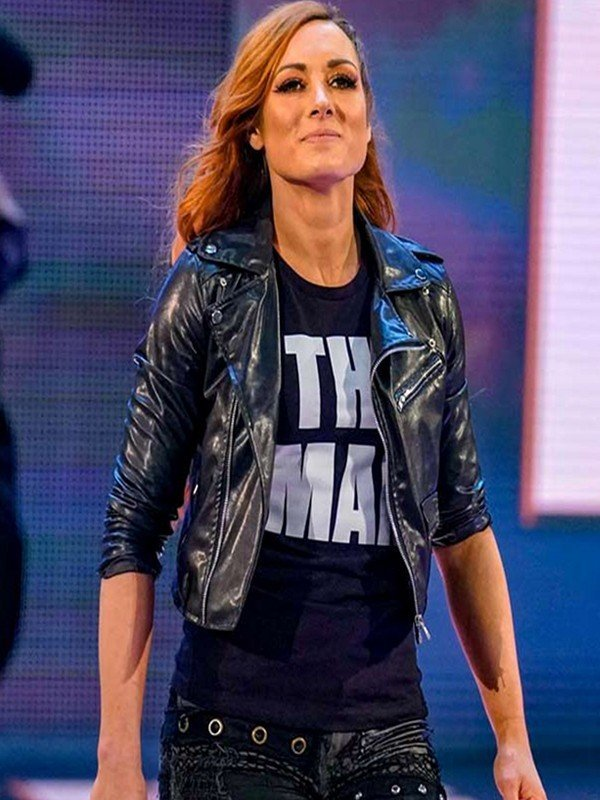Becky Lynch WWE Wrestler Black Cropped Motorcycle Leather Jacket