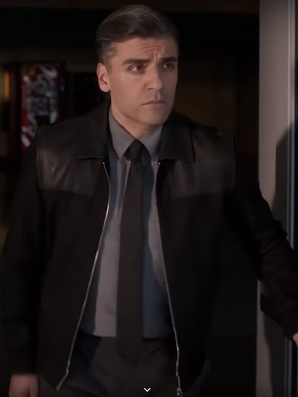Oscar Isaac The Card Counter 2021 William Tell Slim Fit Black Leather Jacket