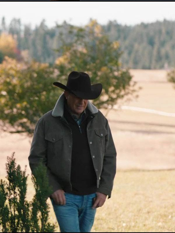 Kevin Costner TV Series Yellowstone John Dutton Brown Shearling Corduroy Jacket